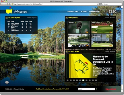 Masters home page live video 04-04-10