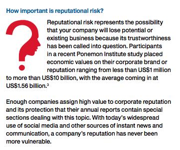 Reputation: Risk of risks - EIU