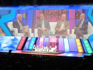 Several prominent IBM Tivoli clients joined IBM senior vice president Robert Leblanc at the IBM Pulse 2013 day two general session to discuss their asset and infrastructure management best practices on the MGM Grand Arena stage.