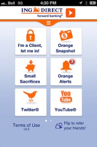 ING DIRECT Canada's mobile application, developed with IBM, delivers customers with a dashboard view based on their most frequent banking activities.